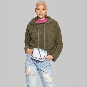 Tops - Wild Fable Olive Fuzzy Hoodie Pullover